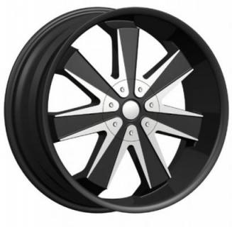 PHINO WHEELS  MAG 7 BLACK RIM with MACHINE FACE