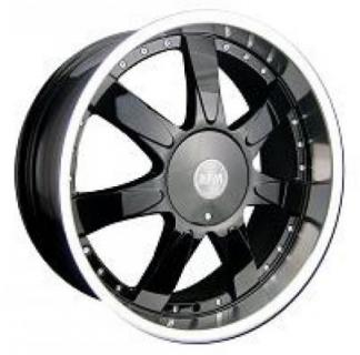 RPM WHEELS  M-514 BLACK RIM with CHROME LIP