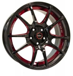 SPEEDY WHEELS  ILLUSION BLACK RIM with RED STRIPE