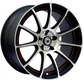 Z-IN MATTE BLACK RIM with MACHINED FACE with RED UNDERCUT from KONIG WHEELS - EARLY BLACK FRIDAY SPECIALS!
