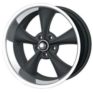 HRH CLASSIC ALLOY WHEELS STYLE 695 BLACK RIM with MACHINED LIP
