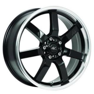 ICW WHEELS  213MB OSAKA BLACK RIM with MIRROR MACHINED LIP