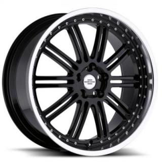 REDBOURNE WHEELS   MARQUES GLOSS BLACK RIM with MIRROR CUT FACE and LIP