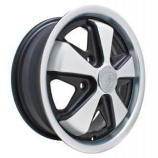 EMPI VINTAGE VW WHEELS 911 ALLOY MATTE BLACK/SILVER WHEEL