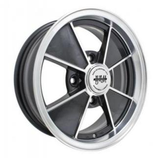 EMPI VINTAGE VW  BRM 4-LUG GLOSS BLACK RIM with POLISHED LIP and SPOKE EDGES