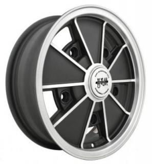 EMPI VINTAGE VW  VW BRM MATTE BLACK RIM with MATTE SILVER LIP and SPOKE EDGES