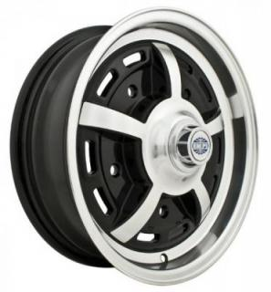 EMPI VINTAGE VW  SPRINTSTAR 5-LUG GLOSS BLACK RIM with POLISHED LIP and SPOKES