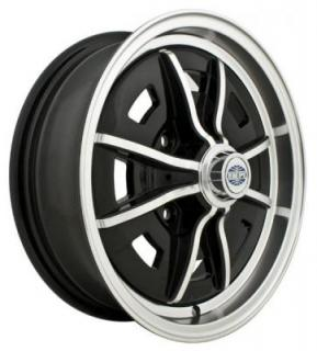 EMPI VINTAGE VW  SPRINTSTAR 4-LUG GLOSS BLACK RIM with POLISHED LIP and SPOKES