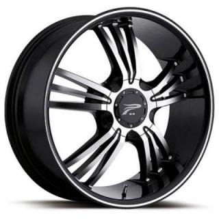 PLATINUM WHEELS  WOLVERINE 122 GLOSS BLACK RIM with DIAMOND CUT ACCENTS
