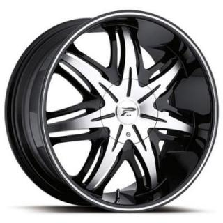 PLATINUM WHEELS  CLOAK 413 RWD BLACK RIM with DIAMOND CUT
