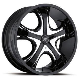 PLATINUM WHEELS  PATRIARCH 416 FWD GLOSS BLACK RIM with CHROME INSERTS