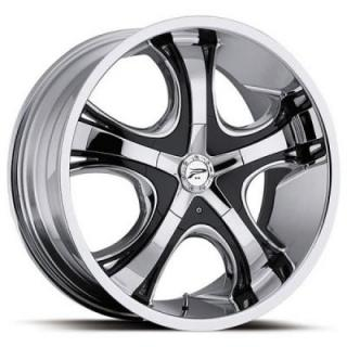 PLATINUM WHEELS  PATRIARCH 416 FWD CHROME RIM with BLACK INSERTS