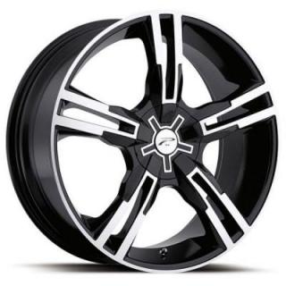 PLATINUM WHEELS  SABER 291/292 GLOSS BLACK RIM with DIAMOND CUT ACCENTS