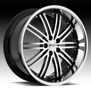 NICHE WHEELS  TOURING M878 BLACK MACHINED RIM with STAINLESS STEEL LIP
