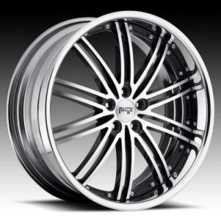 NICHE WHEELS  TOURING II FORGED M200 BLACK MACHINED RIM with CHROME HOOP
