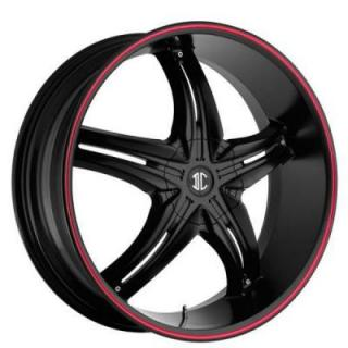 2 CRAVE WHEELS  FIERO N15 BLACK/RED STRIPE RIM