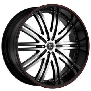 2 CRAVE WHEELS  FIERO N11 BLACK/RED STRIPE RIM