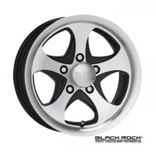 BLACK ROCK WHEELS  921MB INTREPID TOY HAULER ALUMINUM MACHINED RIM with BLACK ACCENTS