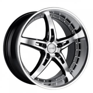 MRR DESIGN WHEELS  GT5 BLACK RIM with MACHINED FACE and LIP