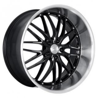 MRR DESIGN WHEELS  GT1 BLACK RIM with MACHINED LIP