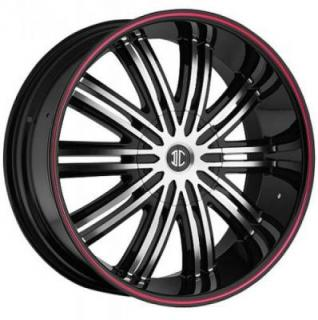 2 CRAVE WHEELS  FIERO N07 BLACK/RED STRIPE RIM