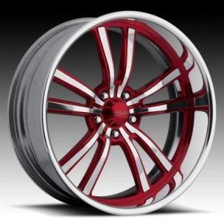 RACELINE WHEELS   STATIC 5 RED RIM with POLISHED FINISH