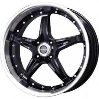 LIQUID METAL WHEELS  F5 BLACK RIM with MACHINED LIP