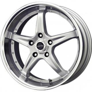 LIQUID METAL WHEELS  F5 SILVER RIM with MACHINED LIP