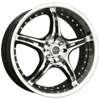 LIQUID METAL WHEELS  MERKUR BLACK RIM with MACHINED FACE and LIP