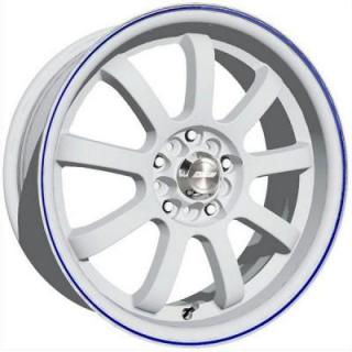SPEEDY WHEELS  LITE 9 WHITE RIM with BLUE STRIPE