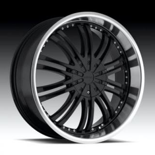 STRADA WHEELS  VENTI BLACK MACHINED RIM