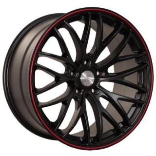 KATANA WHEELS  GTM MATTE BLACK RIM with RED STRIPE