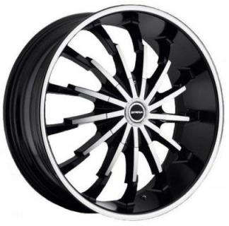 STRADA WHEELS  STILETTO BLACK RIM with MACHINED FACE