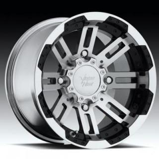 VISION WHEELS  WARRIOR 375 ATV GLOSS BLACK RIM with MACHINED FACE