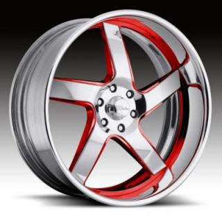 RACELINE WHEELS  ILLUSION 6 RED RIM with POLISHED FINISH