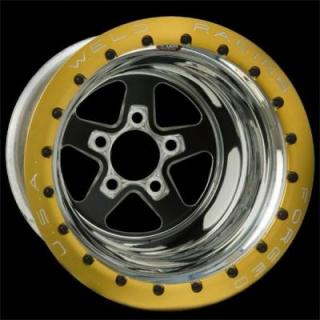 WELD RACING WHEELS  SPORTSMAN DRAG GOLD BEADLOCK BLACK CENTER RIM