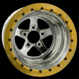 WELD RACING WHEELS  SPORTSMAN DRAG GOLD BEADLOCK POLISHED CENTER RIM