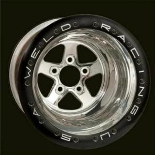 WELD RACING WHEELS  SPORTSMAN DRAG BLACK 18-BOLT BEADLOCK POLISHED CENTER RIM
