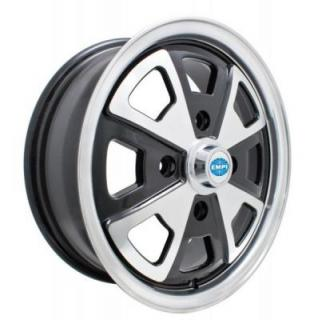 EMPI VINTAGE VW WHEELS 914 ALLOY GLOSS BLACK RIM with POLISHED LIP and SPOKES