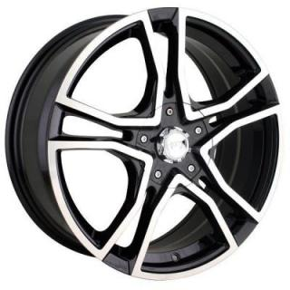 AKITA RACING WHEELS  AK85 BLACK RIM with MACHINED FACE