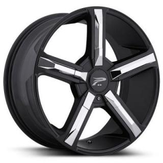 PLATINUM WHEELS  DYNASTY 499 SATIN BLACK RIM with CHROME INSERT