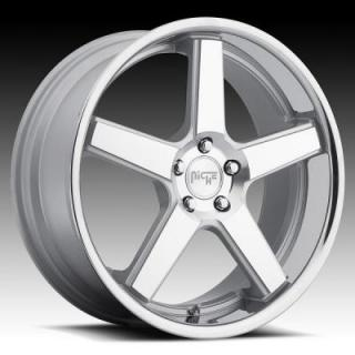 NICHE WHEELS  NURBURG M881 SILVER MACHINED RIM with STAINLESS STEEL LIP