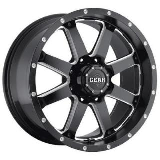 GEAR ALLOY WHEELS  726MB BIG BLOCK GLOSS BLACK RIM w/MILLED ACCENTS