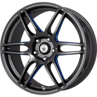 DECEPTION MATTE BLACK RIM with BLUE BALL CUT from KONIG WHEELS