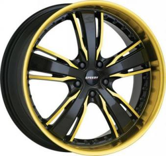 SPEEDY WHEELS  KNIGHTRIDER BLACK RIM with GOLD ACCENTS