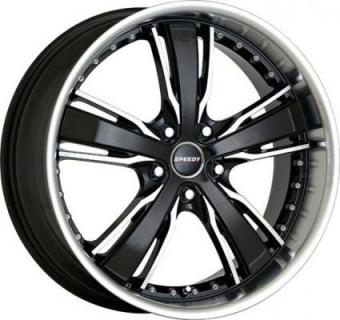 SPEEDY WHEELS  KNIGHTRIDER BLACK RIM with MACHINED ACCENTS
