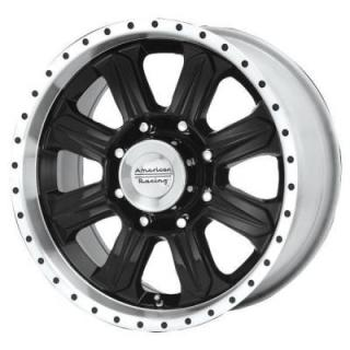 SPECIAL BUY WHEELS  AMERICAN RACING AR321 FUEL BLACK RIM with MACHINED LIP PPT