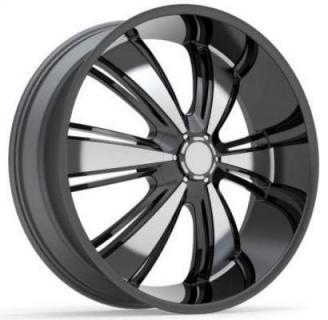 REV WHEELS  RWD 955 BLACK/MACHINED CLEAR COAT RIM