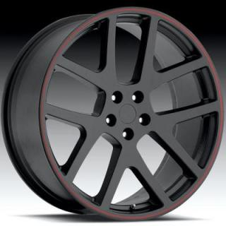 FACTORY REPRODUCTIONS WHEELS  DODGE VIPER SATIN BLACK RIM with RED STRIPE