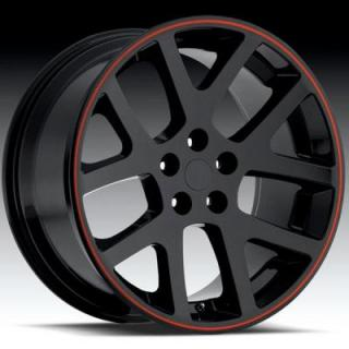 FACTORY REPRODUCTIONS WHEELS  DODGE VIPER GLOSS BLACK RIM with RED STRIPE